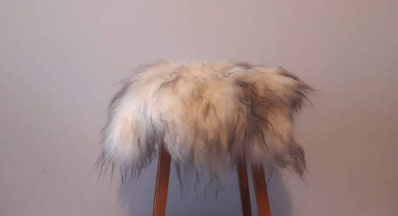 UNIQUE pure SHEEPSKIN stool covers. White gray and or black