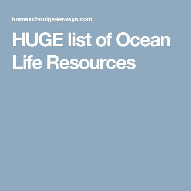 HUGE list of Ocean Life Resources