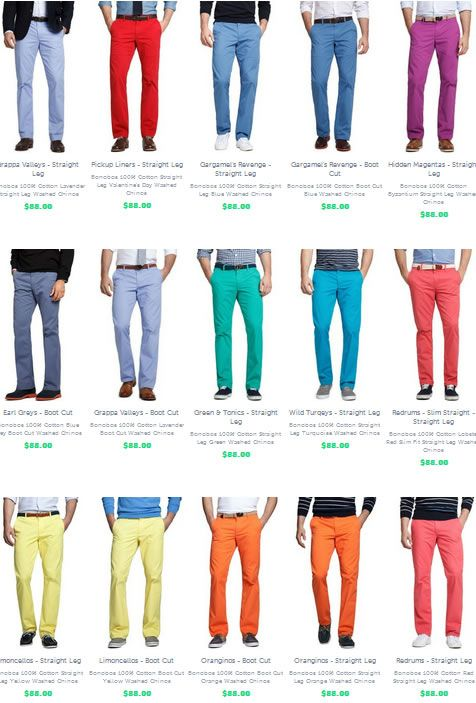 Bonobos Colorful Chinos My Style Fashion, Men style tips, Mens