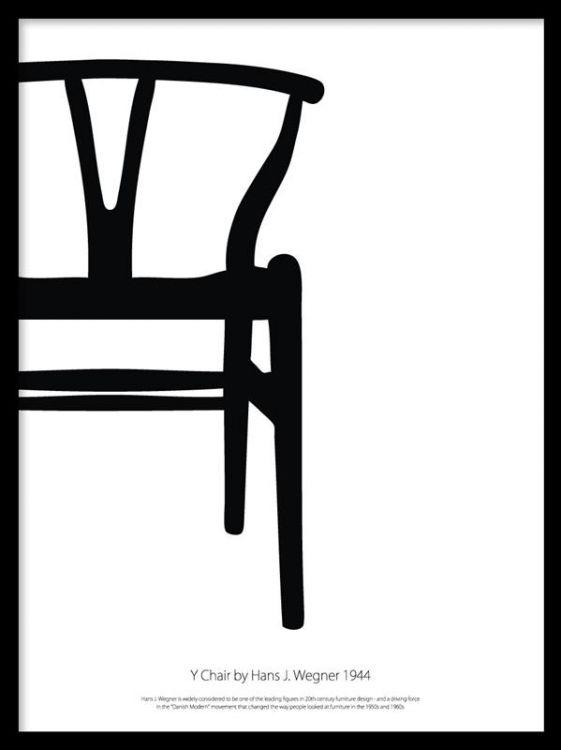 Poster med Y-stolen designad av Hans Wagner. Svartvit stilrent print som passar bra i svart tavelram. Affischer och posters med möbelklassiker. Desenio.com