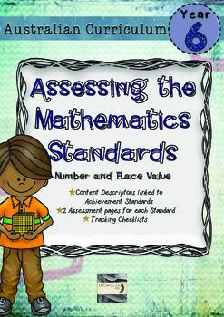 Maths assessment that is directly linked to the content descriptors and achievement standard of the Year 6 Australian Curriculum for Mathematics.  This pack contains 2 assessment pages for each of the Number and place Value content descriptors and the matching standards. The assessments are designed to be used before and after teaching a unit covering this content.
