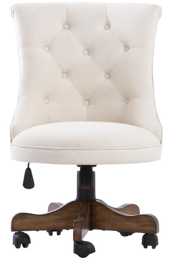 More Click Feminine Office Chair White Cute Little Tufted