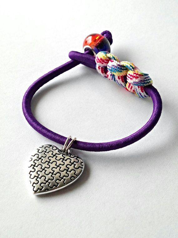 Autism bracelet autism jewelry puzzle jewelry bungee by GenevasSky