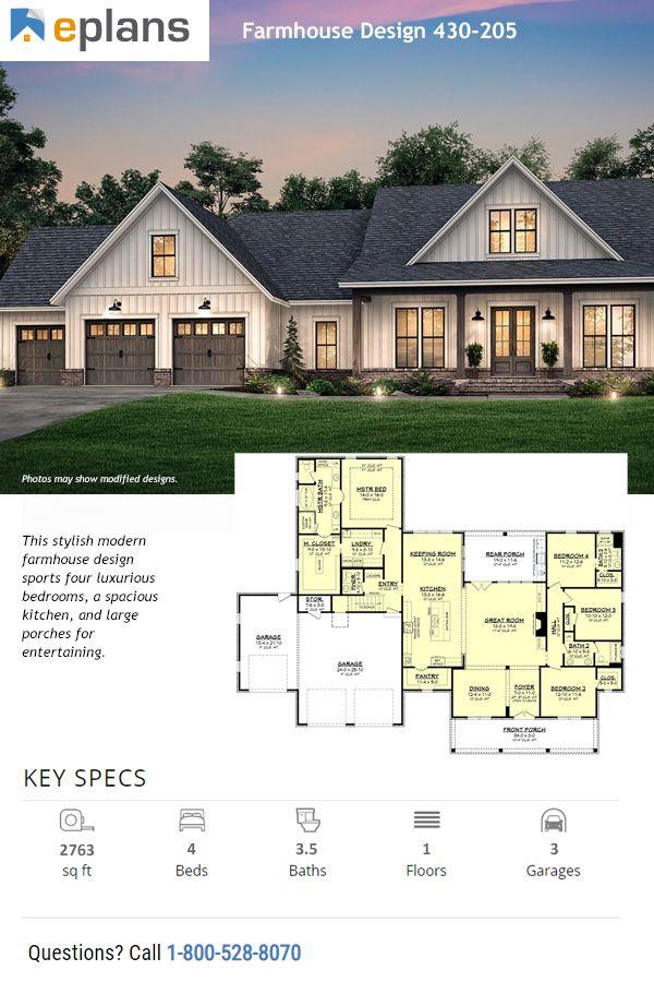Farmhouse Style House Plan 4 Beds 3 5 Baths 2763 Sq Ft Plan 430
