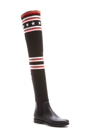 Free shipping and returns on Givenchy Storm Over the Knee Sock Boot (Women) at Nordstrom.com. Part patriotic, part posh: A bold stars-and-stripes design adds color-pop panache to a soaring over-the-knee boot that pairs a stretchy rib-knit shaft with a smooth rubber base.