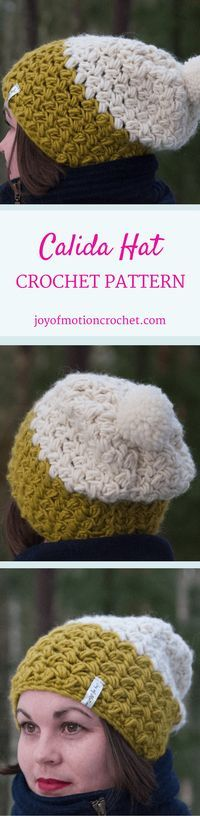 The Calida hat. Crochet pattern for a warm winter hat. This beanie pattern has a huge size range from 12 months to adult size| Hat crochet patterns. Crochet pattern hats. Beanie crochet patterns. Hood crochet pattern. Hat crochet designs. Slouchy hat patt
