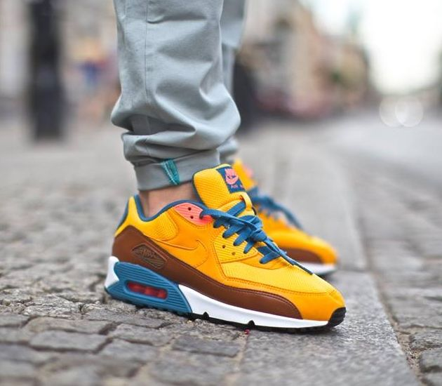 nike air max 90 essential university gold  cognac  rift blue university gold sneakers pinterest air