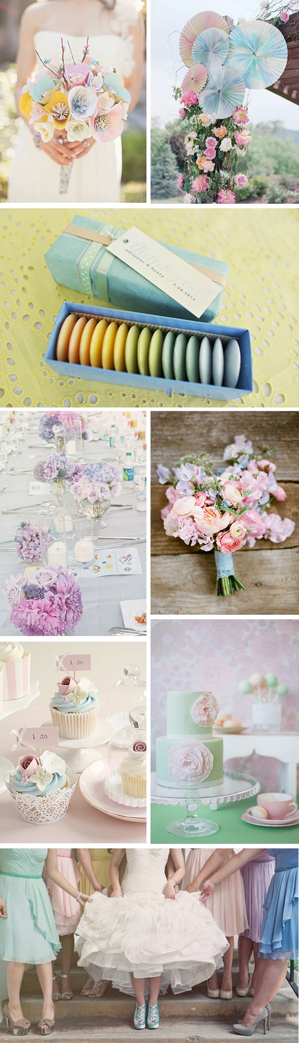 With springtime in full bloom, light and airy pastel colors are all the rage! The great thing about pastels for a wedding is they can be incorporated anywhere; flowers, table arrangements, bridesmaids, favors-you name it!