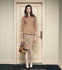Tory Burch - Madeline Peplum Sweater. Love the Widberry color with the Glen Plaid Skirt in Camel Multi.