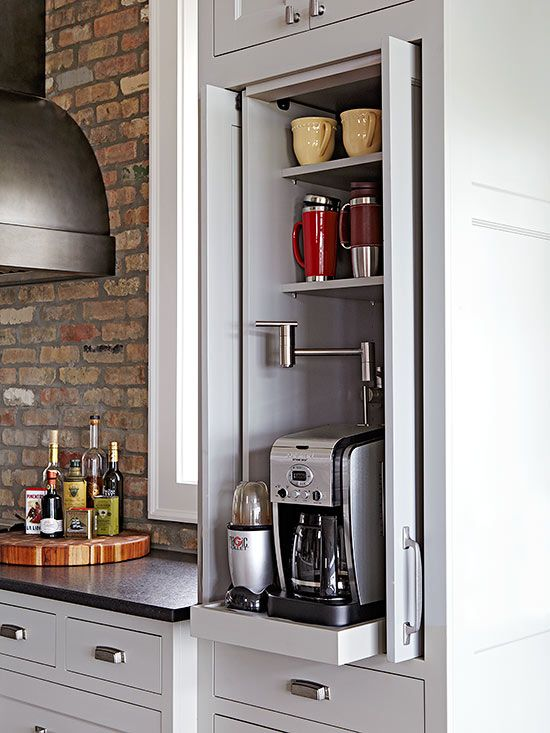 A coffee station has a pullout shelf, making it easy to access, plus a pot filler faucet to save trips across the kitchen with a pot full of water.