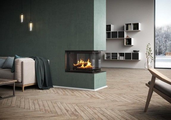 RAIS Visio 3:1 has glass on three sides and allows you to enjoy the beautiful fire in two rooms at the same time #stove #insert #RAIS #artoffire