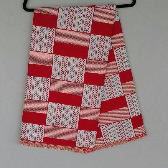 Kente Fabric Red And White Ankara Print By Ankaraafricanfabric