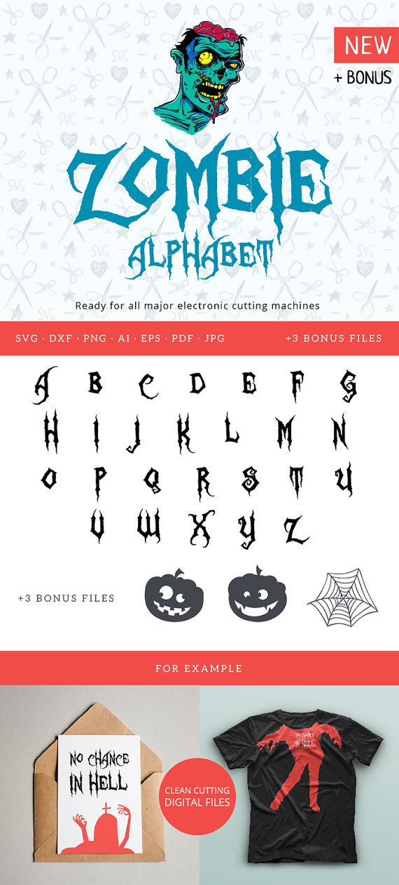 Halloween Zombie Font SVG Cuttable Alphabet svg dxf png pdf eps jpeg ai for Silhouette Studio Cricut Vinyl Cutter Heat Press Transfer