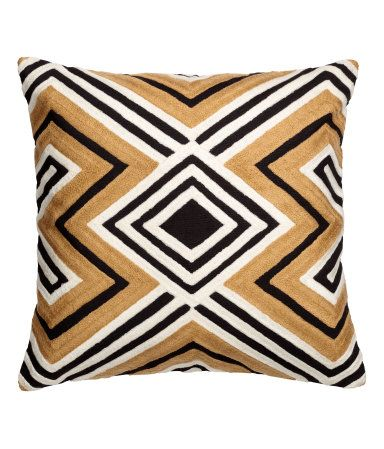 Black/patterned. Cotton cushion cover in cotton canvas with embroidery at front and solid-color cotton canvas at back. Concealed zip.