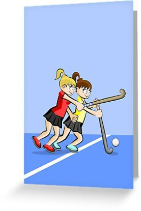 Two Girls Playing Hockey Chase Ball Greeting Card By Megasitiodesign Two Girls Greeting Cards Hockey