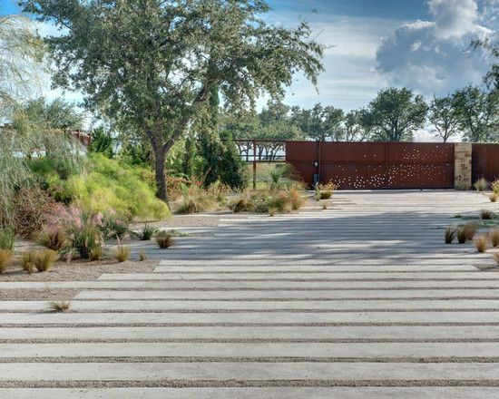 long pavers and pea gravel