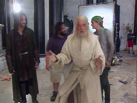 detrás de escena El Señor de los Anillos- Viggo Mortensen (Aragorn), Ian McKellen (Gandalf),Orlando Blum (Legolas) y John Rhys-Davies (Gimli)
