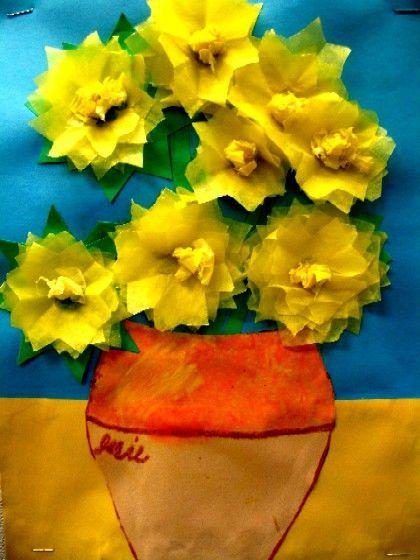 van Gogh-Elementary Art-Tissue Paper. Incorporates history, imitation, paint/pas