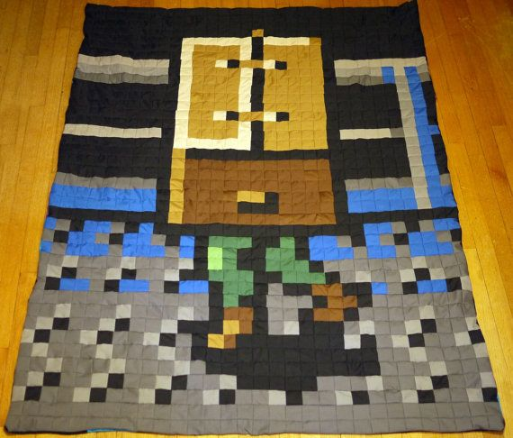 Snake in a box Metal Gear Quilt by 8bitHealey on Etsy, $150.00