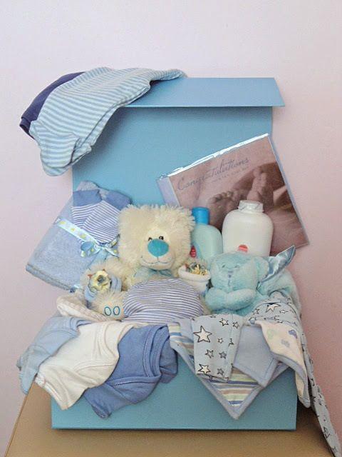 LARGE BABY BOY GIFT HAMPER LUXURY GIFT BOX BLUE 0-3 MONTHS