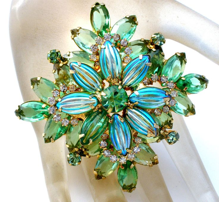 Blue & Green Vintage Glass Rhinestone Brooch Pin - The Jewelry Lady's Store - 1