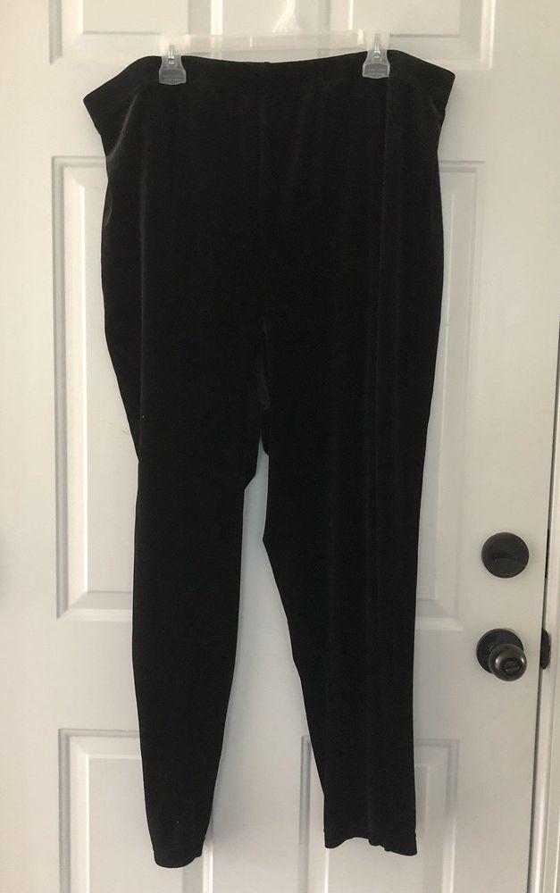 7c2b2c755556b Avenue Black Velvet Pants 26 28 Split Leg Elastic Waist Polyester Spandex   fashion  clothing