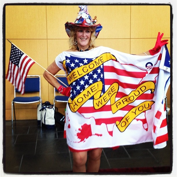 The increasing, alarming suicide rate with our #Troops, caused me to want to make and wear this dress in the Labor Day Parade in Charlotte NC also at the DNC Convention. My reversible flag dress, supports the troops on one side and America's First Immigrants on the other. This pic was taken at the DNC Convention and used by USA Today. My hat rocked pins, an Obama surfer bobblehead, a medallion, a Missouri Democrat spoon and more. Thank-you #Veterans for your Service!