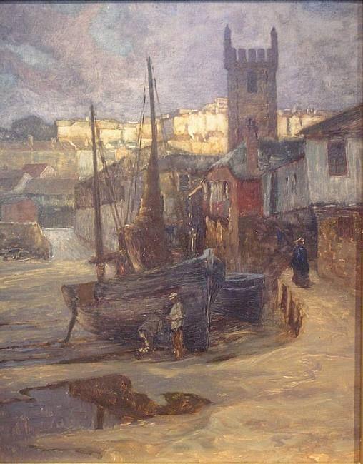 """Carl O'Lynch, (Graz 1869 - 1942 Genua(, """"Hafen von St. Ives, Cornwall"""", 1907"""