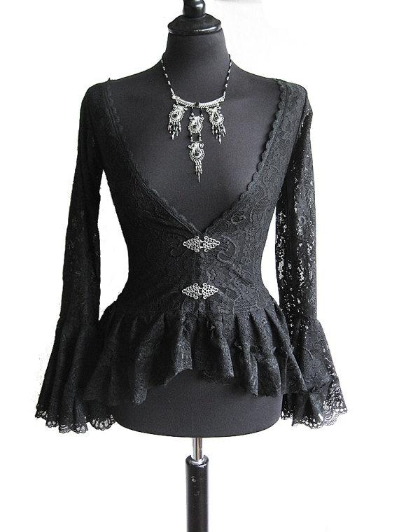 Blouse Papillon, black lace