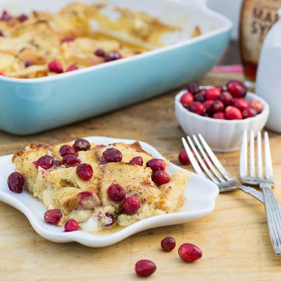 Eggnog French Toast Bake with Cranberries | Recipe