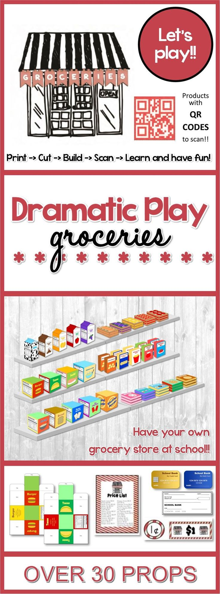 Open your own groceries store in your classroom with this dramatic play set, equipped with everything you'll need - unlike other dramatic play sets, these set not only comes with all the necessary matching store signs, bunting, money, coupons, credit and debit cards, checks, labels, name tags, and price tags, but you'll also receive 29 product templates for you to print, cut, glue and stock in your own groceries store.