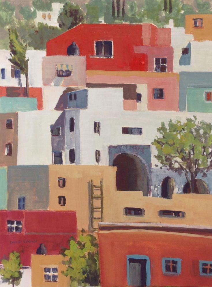 """David Eakin's """"Guanajuato Houses XXXII"""", gouache, 14x11. lynchburg art festival artist http://davideakin.com/"""