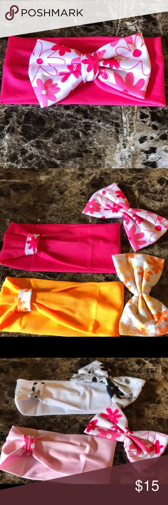 Baby head bands two way use Baby head band girl head band two way use         Can use with bow or with bow.    👌.               Price is for four head band hand made Accessories Hair Accessories