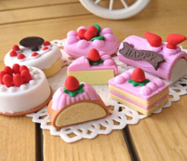 Barato 4 pçs/lote aleatória borracha borracha papelaria nova bolo em forma de criativo bonito material escolar para crianças…