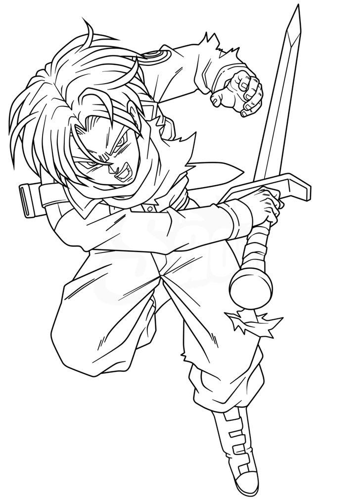 dragon ball z coloring pages trunks dbz | Trunks Attack - Lineart by SaoDVD on DeviantArt | Trunks ...