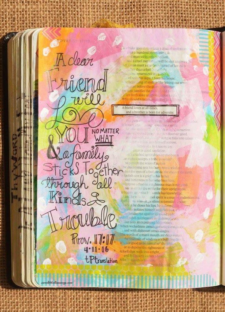 Proverbs 17:17(tPt), April 11, 2016, carol@belleauway.com, acrylic paint, Illustrated Faith pen, Washi tape, bible art journaling, bible journaling, illustrated faith