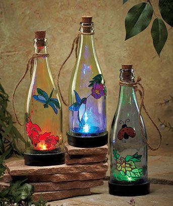 This handpainted bottle lantern is solar powered so you for Diy solar wine bottle lights