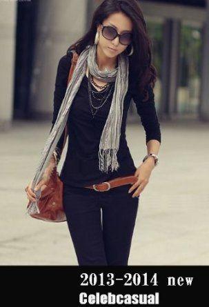 Amazon.co.jp: レディース セレブ ファッション スリム Vネック 長袖 Tシャツ カットソー 黒 Sサイズ: 服&ファッション小物