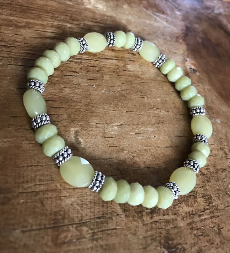 A personal favorite from my Etsy shop https://www.etsy.com/listing/549883154/green-bracelet-faceted-olive-jade