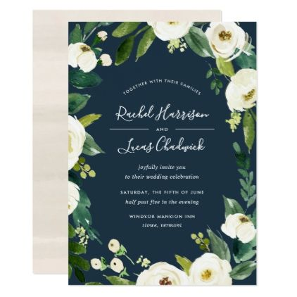Alabaster Floral Frame Wedding Invitation - rose style gifts diy customize special roses flowers