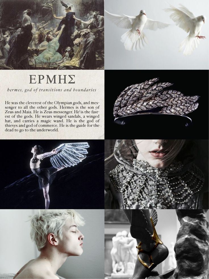 """Mythology Meme [10/12]Hermes [Ἑρμῆς] is the son of Zeus and the Pleiad Maia. He is the Messenger of the gods; the god of trade, thieves, travelers, sports, athletes, and the guide to the Underworld. He is second youngest of the Olympian gods. """"Hermes..."""