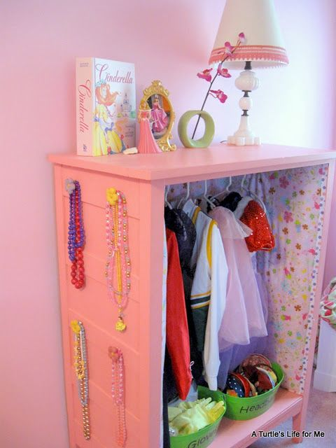 Dress Up Storage Centre (repurposed dresser).  Better than the gigantic plastic box we use currently. I may not have daughters but my boys play dress up, and this is a cute idea that I could do with boy colors!