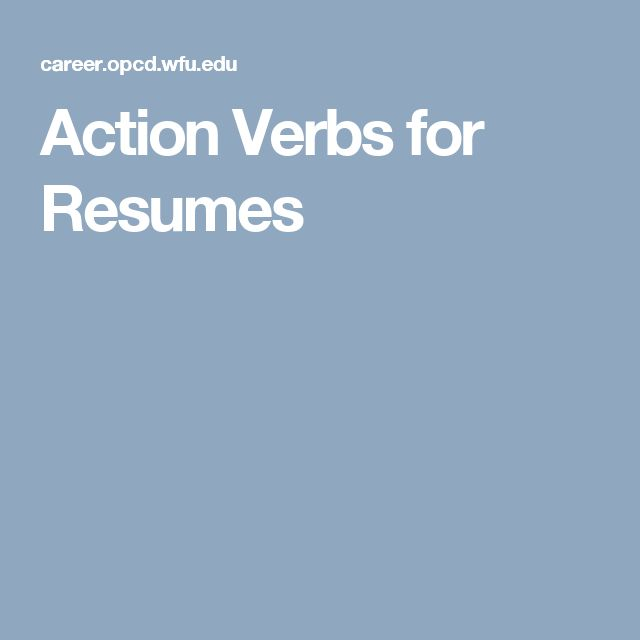 Action Verbs for Resumes