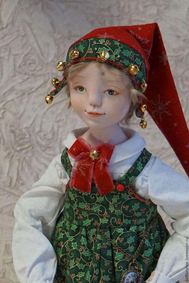 Купить Рождественский эльф - ярко-красный, кукла ручной работы, кукла, кукла интерьерная