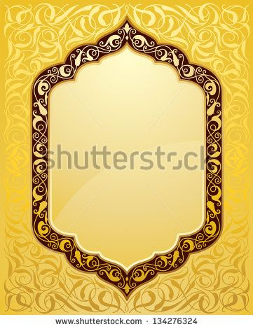 elegant islamic template design in gold background - stock vector