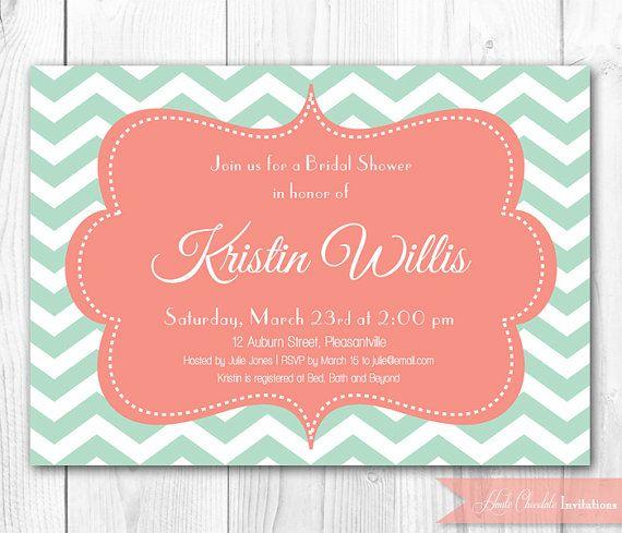Mint Bridal Shower Invitation - Modern Chevron in Mint & Coral. DIY Printable Bridal Shower Invite or Baby Shower Invitation.