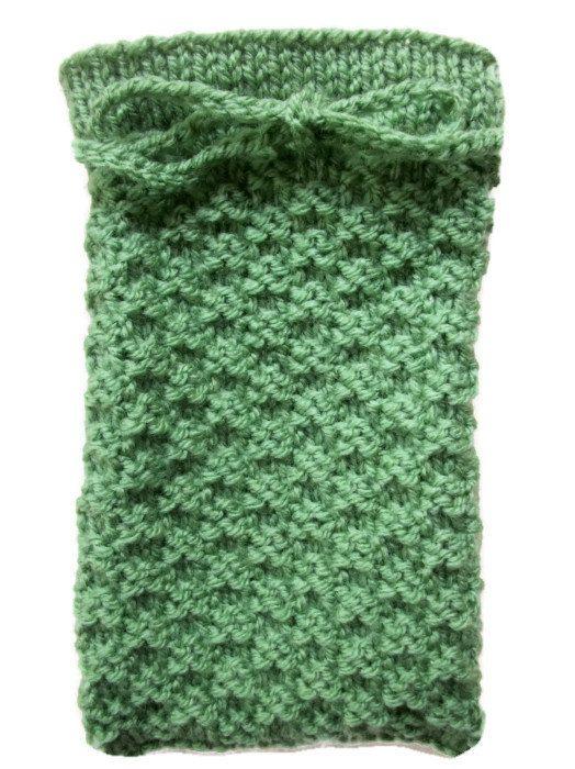Tarot card bag Hand knitted pouch Green by thekittensmittensuk, £11.00