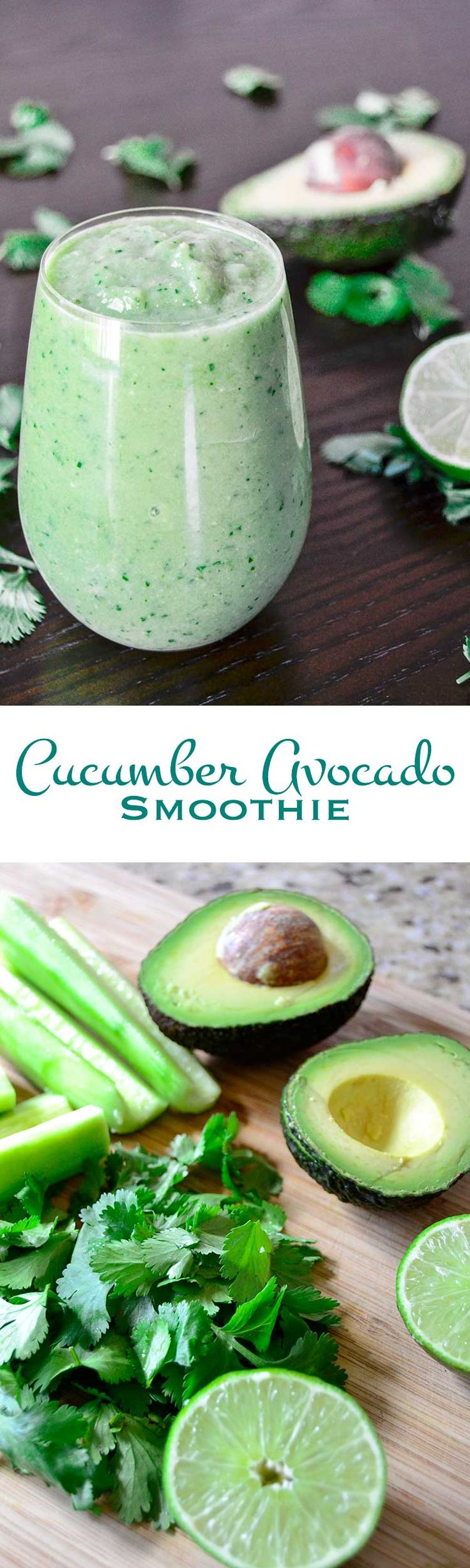 Cucumber Avocado Smoothie | Buttery avocado, crisp cucumber, earthy cilantro, and bright lime juice combine to make this cucumber avocado smoothie a great way to start your day. @RNsKitchen