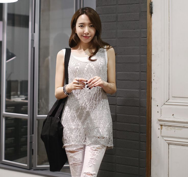 Loveliness of the female clothing shop. [Whitefox]	 Raspberry knit / Size : FREE / Price : 19.63 USD	 There is a sense of comfort for long matches.	 #knit #sleeveless #mesh #long	 #koreafashion #womanfashion #dailylook #chic #OOTD #WHITEFOX