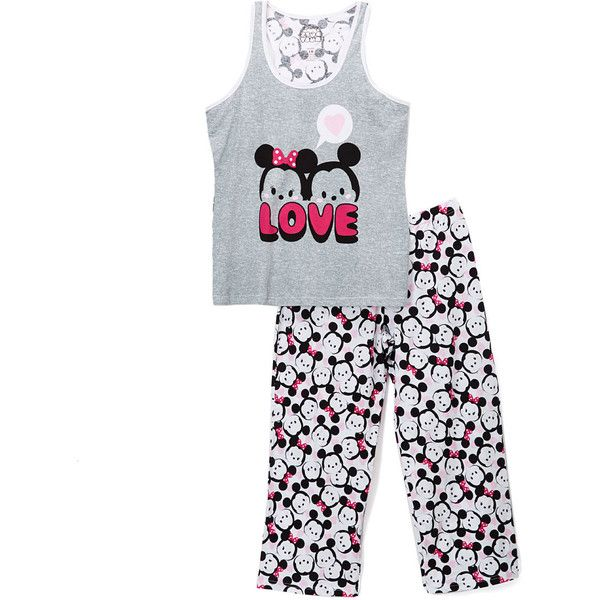 Briefly Stated Tsum Tsum Gray Two-Piece Pajama Set ($17) ❤ liked on Polyvore featuring intimates, sleepwear, pajamas, plus size, womens plus size pajamas, cotton pajama set, women's plus size sleepwear, cotton pajamas and plus size pajama bottoms